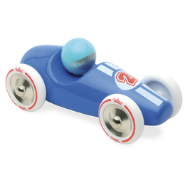 Large Blue Wooden Race Car