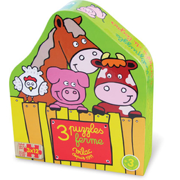 Farm 3 x 12 Piece Wood Puzzle